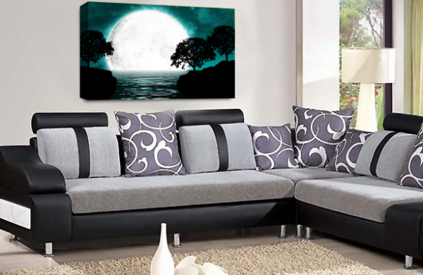 Abstract Seascape Wall Art Grey Teal White Big Moon Canvas Picture